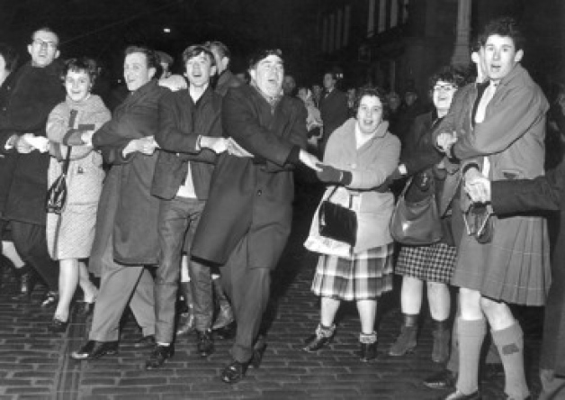 Auld Lang Syne outside the Tron in 1964. Picture: TSPL